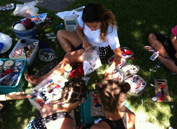 Fun Factory crafts at a neighborhood park.
